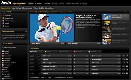 Bwin Sportwetten Webseite