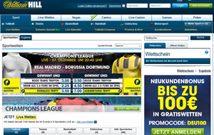 William Hill Sportwetten Webseite